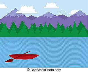 bitófák, tó, hegyek