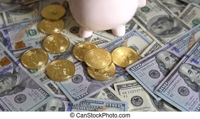 Bit Coin BTC coins on bills of 100 dollars. - Gold Bit Coin...