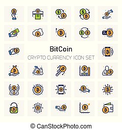 Bit Coin Crypto Currency icons set