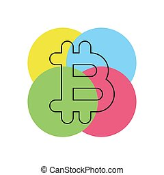 Bit coin icon, vector sign, bitcoin