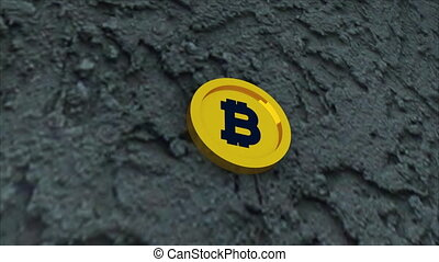Bit coin is on concrete surface, it is symbol of electronic...
