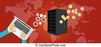 bit coin mining server bitcoin economy vector payment