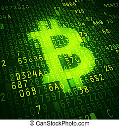 Bit coin symbol as virtual currency symbol. Conceptual image.