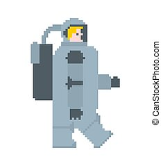 bit., cosmonaute, astronaute, illustration, vecteur, astronaute, 8, pixel, art.