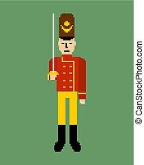 bit., guardsman, illustration., soldat, vecteur, 8, jouet, jouet, pixel, art.