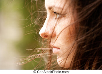 bit, quadro, portrait., tristeza, femininas