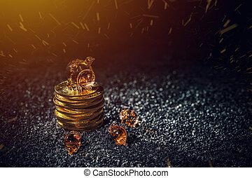 bitcoin, économie, et, investissement, concept