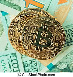 bitcoin., 金, cryptocurrency., bitcoin
