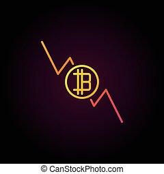 bitcoin, 감소하는 것, 그래프, 다채로운, 아이콘, -, 벡터, cryptocurrency, d