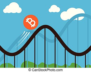 bitcoin, 동전, 통하고 있는, roller-coaster