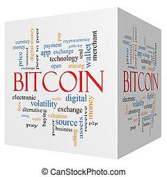bitcoin, 3, köb, szó, felhő, fogalom