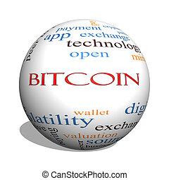 bitcoin, 3d, esfera, palabra, nube, concepto