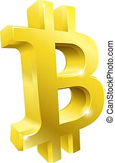 Bitcoin 3d Gold Symbol Sign