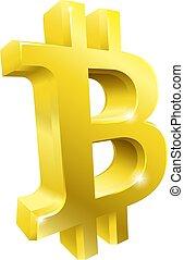 Bitcoin 3d Gold Symbol Sign