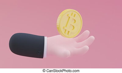 Bitcoin with a chubby hand on a pink background. Finance concept, money accumulation and stock exchange. Trendy 3D video.