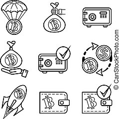 Bitcoin. 9 monochrome vector icons set for site. - Bitcoin....