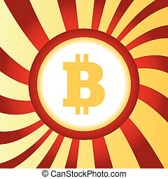 Bitcoin abstract icon - Yellow icon with bitcoin symbol, in ...