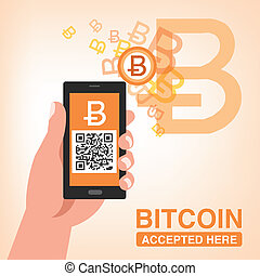 Bitcoin Accepted, Smartphone with QR code - Bitcoin...