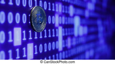 bitcoin against monitor with binary code. Crypto currency Gold Bitcoins - BTC - Bit Coin.