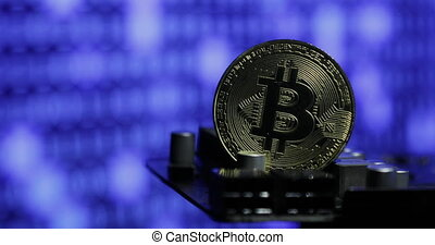 Crypto currency Gold Bitcoin - BTC - Bit Coin. Blockchain technology.