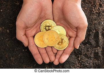 bitcoin, alatt, a, heart-shaped, kéz, lényegbeni pénz, helyett, háló, bankügylet, és, nemzetközi, hálózat, payment.