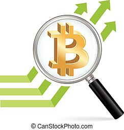 Bitcoin symbol with a magnifying glass and a graph.