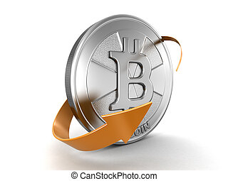 Bitcoin and arrow. Image with clipping path
