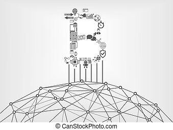 Bitcoin and blockchain icon with world wide web as symbol for crypto currency