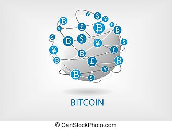 Bitcoin and blockchain vector illustration of connected world wide web for internal money transfer