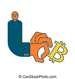 Bitcoin and businessman. Cancellation of Cryptocurrency...