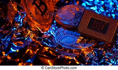 Bitcoin and CPU on abstract background