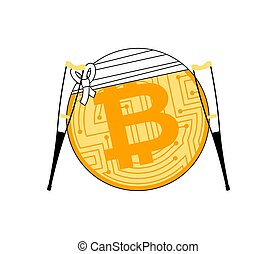 bitcoin and crutch. Cryptocurrency bandaged. Concept BTC...