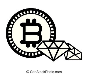 bitcoin and diamonds black and white