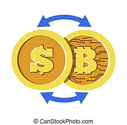 Bitcoin and dollar coin with cryptocurrency exchange rate concept