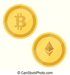 Bitcoin and ethereum - Bitcoin and Ethereum symbols ....