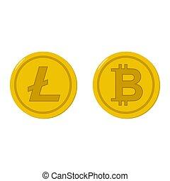 Bitcoin and litecoin coin icons set