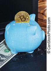 bitcoin and piggy Bank. the concept of virtual cryptocurrency preservation.