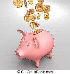 bitcoin and piggybank