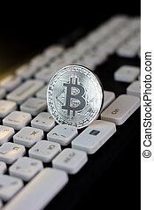 bitcoin, argent, pc, keyboard., monnaie, blanc