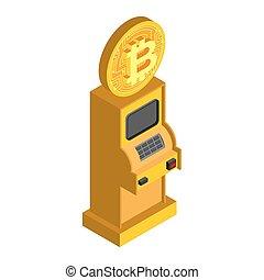 Bitcoin ATM. Crypto cash dispenser. Virtual money cash machine. Vector Illustrator