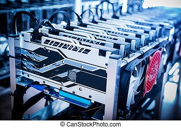 bitcoin, bányászás, berendezés, álló, alatt, egy, row.