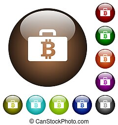 Bitcoin bag color glass buttons