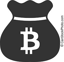 Bitcoin bag icon in simple design. Vector illustration