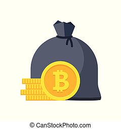 Bitcoin bag with money. Stacks of coins.