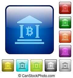 Bitcoin bank office color square buttons