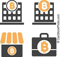 Bitcoin Bank Vector Icon Set - Bitcoin Bank vector icon set....
