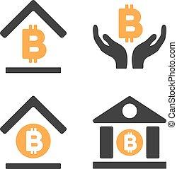 Bitcoin Banking Vector Icon Set