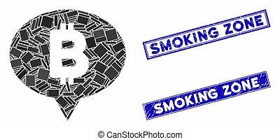 Bitcoin Banner Balloon Mosaic and Distress Rectangle Smoking Zone Watermarks