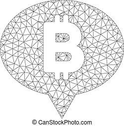 Bitcoin Banner Balloon Vector Mesh Carcass Model