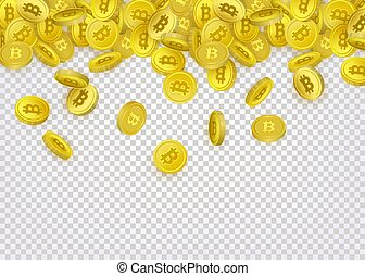 Bitcoin banner, flyer template with golden coins